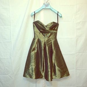 Strapless Shiny Olive Green Formal Dress